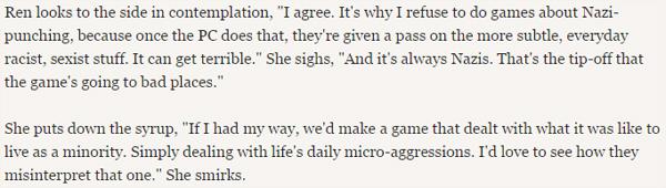 Otro de los diálogos más interesantes que he encontrado es este con la diseñadora gráfica, sobre cómo el abuso y la exageración de estereotipos puede llegar a insensibilizar al jugador y cegarlo a la hora de analizarse y hacer autocrítica, concretamente sobre actitudes racistas. (2)