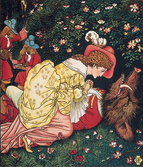 Ilustración de Walter Crane: la Bestia moribunda por la ausencia de la Bella