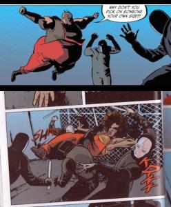 Arriba. Penny Role. Fuente. Abajo. La protagonista, Kamau Kogo, luchando contra los guardias. Fuente