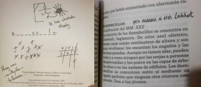 Estas son las cosas importantes que uno se apunta en los libros de texto. Imágenes de la primera edición española de Animales fantásticos y dónde encontrarlos (2001, Salamandra).
