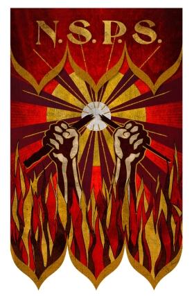 Emblema de los Segundos Salemitas, mostrando un contundente mensaje con la varita siendo partida por la mitad y las llamas consumiéndolo todo. Diseño original para la película. Fuente: Harry Potter Wikia.