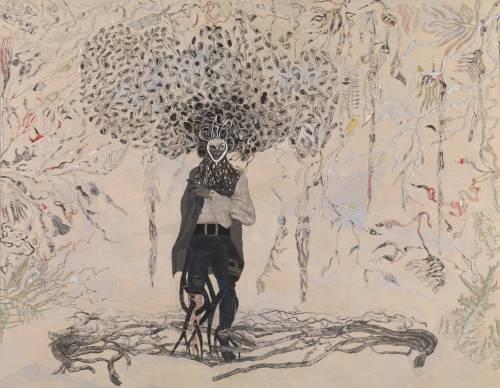 Ellen Gallagher, Pájaro en la mano, 2006, óleo, tinta, sal y pan de oro en lienzo.