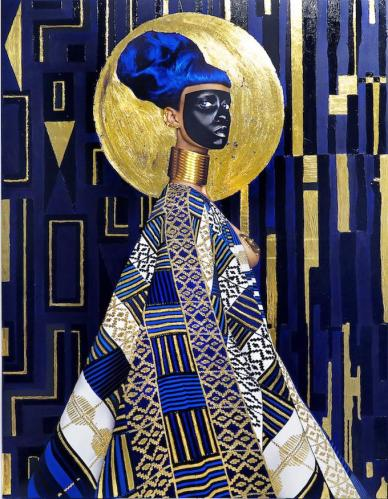 Lina Viktor, Syzygy, 2015, pintura acrílica, oro, gouache, impresión sobre lienzo