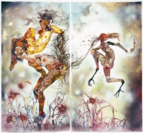 Wangechi Mutu, Tu historia mi maldición, 2006, técnicas mixtas en Mylar.
