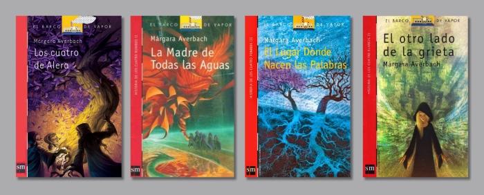 Portadas de la saga Historia de los cuatro rumbos (Colección Barco de Vapor).
