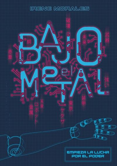 El fondo es de un color azul oscuro, las letras parecen entre neones y circuitos, aparece una especie de plano de un brazo mecánico.