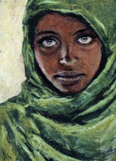 """En la ilustración aparece dibujada una chica joven de piel oscura y ojos claros, envuelta en un pañuelo verde. Parece un homenaje a la fotografía """"la muchacha afgana"""" de Steve McCurry."""