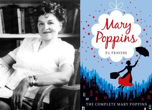 Fotografía de la autora en blanco y negro, parece tomada en los años cincuenta, y portada de Mary Poppins.