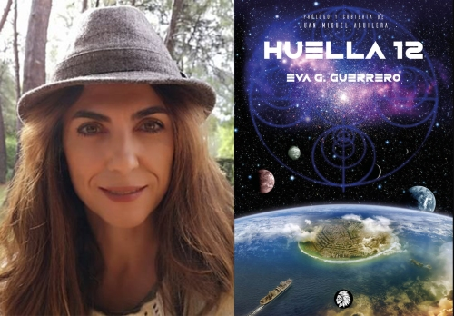Fotografía de la autora y portada de Huella 12