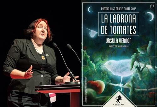 Fotografía de la autora y portada de La ladrona de tomates.