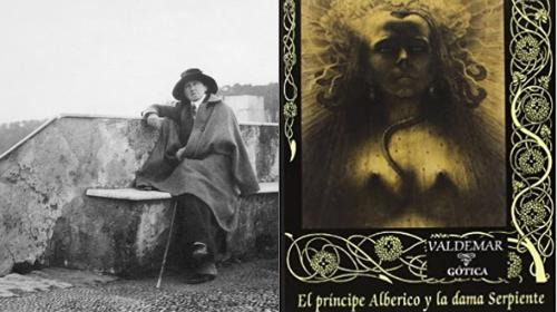 """Fotografía de la autora, es bastante antigua, está en blanco y negro. También portada de la novela """"El príncipe Alberico y la dama Serpiente"""""""