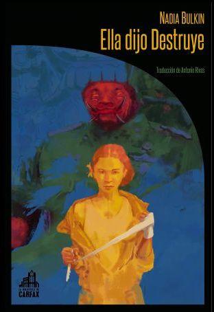Sobre un fondo azul aparece una mujer joven en color amarillo, parece que se pone un vendaje en las manos como si fuera a boxear. Tras ella se cierne una figura amenazante de rostro rojo.