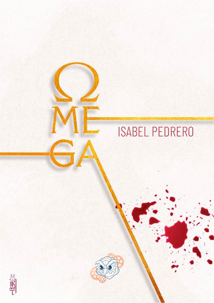 Sobre un fondo en color crema aparece el título (en dorado, la O es la letra Omega del alfabeto griego). También aparecen unas gotas rojas que parecen sangre.
