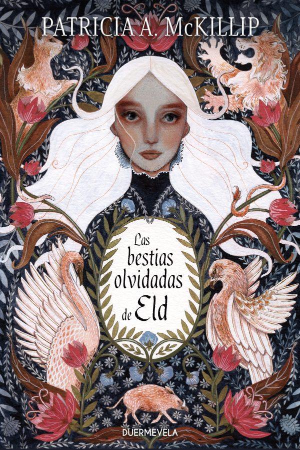Con un estilo que recuerda a los tapices medievales, aparece en el centro una chica de pelo blanco que mira al expectaor, rodeada de flores rojas y distintos animales.