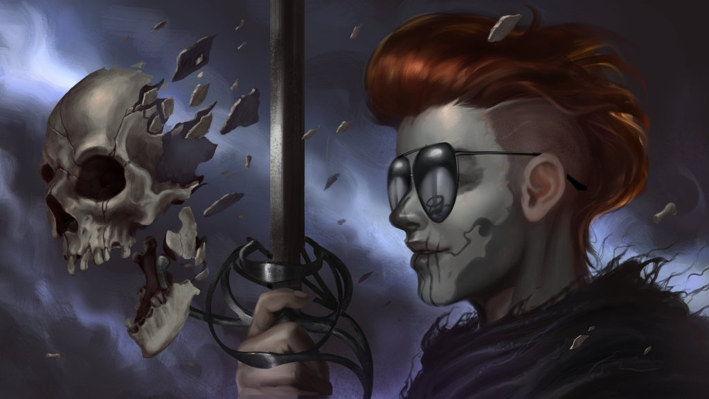 Guideon sostiene una espada con la que ha atravesado una calavera.