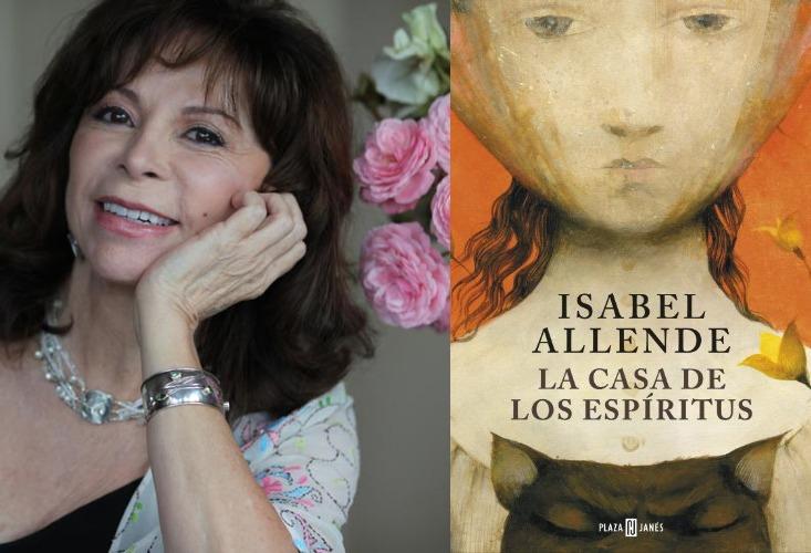 Fotografía algo antigua de la autora, aparece sonriendo junto a unas rosas de color rosa. Al lado, la portada de su novela La casa de los espíritus.