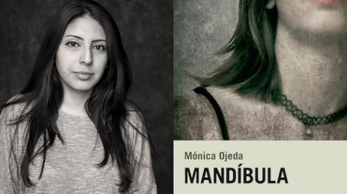 Fotografía d ela autora y portada de su novela Mandíbula.