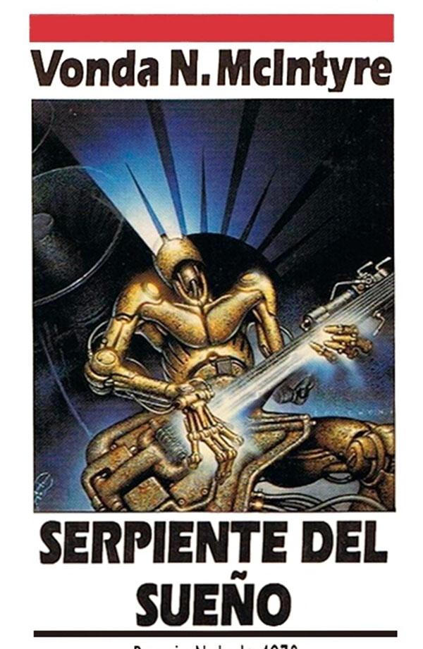 Una portada blanca con una ilustración extraña en la que lo que parece ser   un guitarrista robot hace un solo.