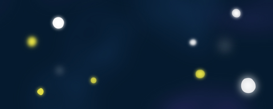 Fondo azul sobre el que brillan unas esferas brillantes blancas y amarillas en diferentes planos y de distintos tamaños.
