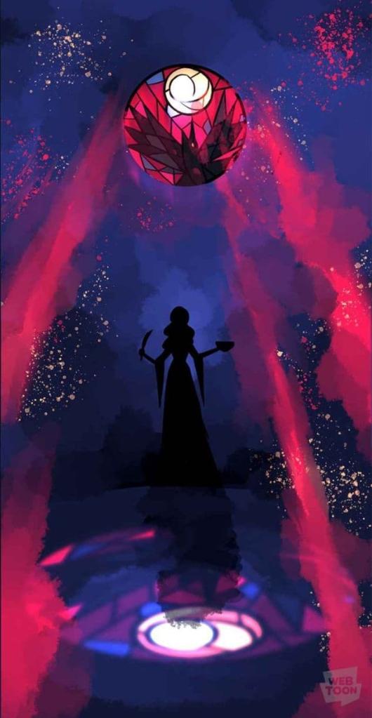 Sobre un fondo en tonos azul oscuro y humo rojo, se adivina una silueta negra de mujer, que sostiene en una mano un cuchillo y en otra un cuenco. Sobre su cabeza se aprecia una vidriera que representa a un cuervo y a la luna, y la luz que se cuela por ella forma un dibujo a los pies de la mujer.